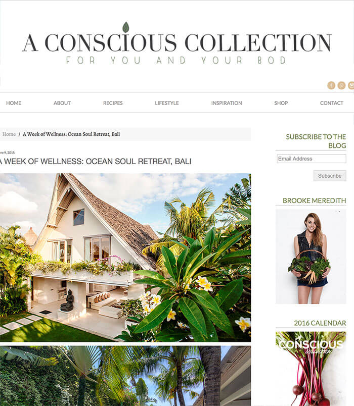 a conscious collection, week of wellness for women in bali, self development, Yoga, Surfing, Nutrition, Mindfullness, Meditation, relaxation, detox