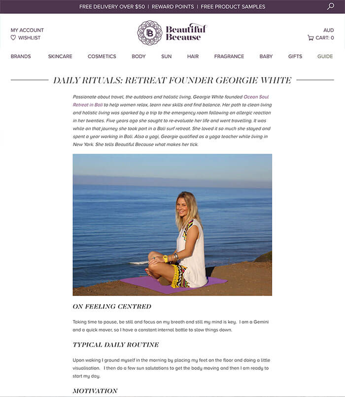 beautiful because, Press article for Bali Women's Surf and Yoga Retreat