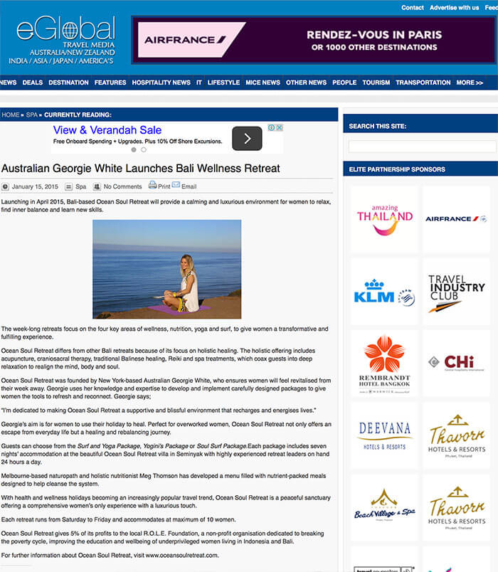eGlobal report on Ocean Soul Retreat, women, Bali, self development, Wellness, Yoga, Surf, Nutrition, Mindfullness, Meditation, SUP