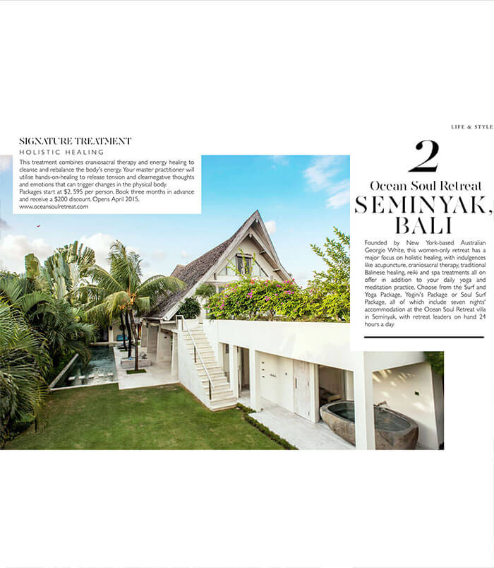 life and style magazine, holistic healing, Bali's, Top rated Women's retreat, surf, wellness, yoga, pilates