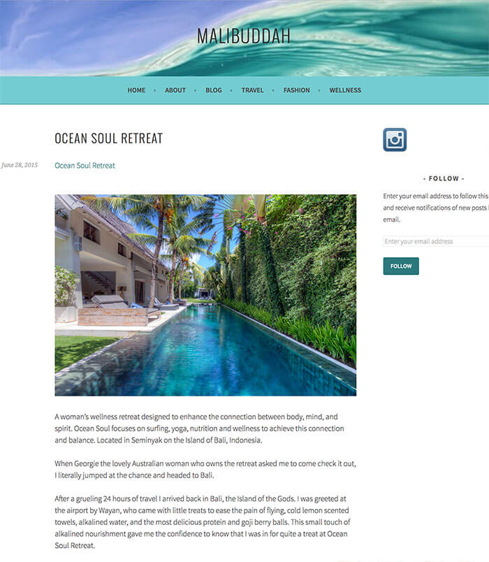 Malibuddha, Press article, A women's wellness retreat, bali, enhance connection between body mind and spirit in Seminyak, Indonesia
