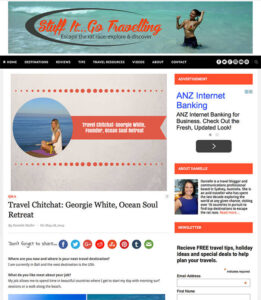 stuff it go travelling interview with Ocean Soul retreat founder Georgie White, Pilates, Yoga, Surf, Wellness, Bali, For Women, Women's retreat